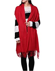 Prettystern - Pashmina Schal 230cm lang 100% Wolle einfarbig 80 Garn unifarbe Fransen - Farbauswahl