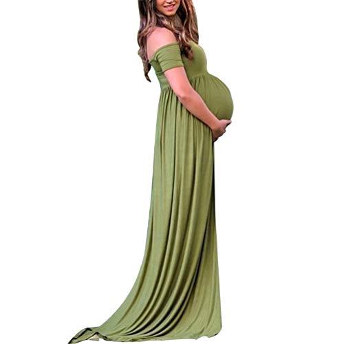 Yuncai Donna Vestiti Premaman Tinta Unita Elegante Manica Lunga A Vita Alta Abito di maternità Lungo Verde1 XL