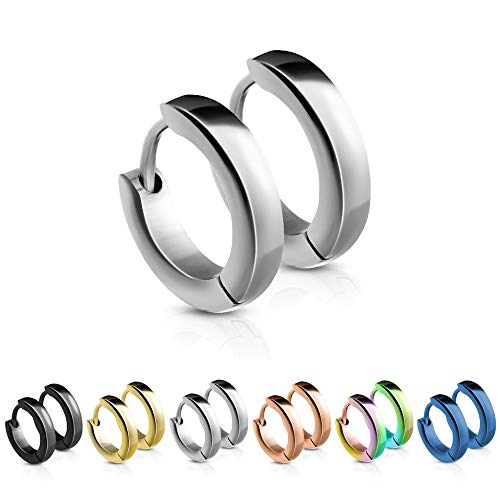 Treuheld® | Schmale Creolen/Ohrringe aus medizinischem Edelstahl | 2,5mm x 12mm | Silber | Klappcreolen für Damen und Herren | Set/Paar