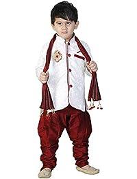 Stylokids White Silk Indowestern Kurta Pyjama & dupattafor Boys