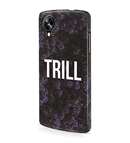 Trill Dark Purple Wild Flower Pattern Durable Hard Plastic Snap On Phone Case Cover Shell For LG Google Nexus 5 Coque Housse Etui