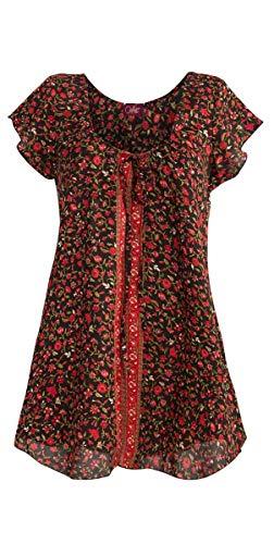 143fa69a3 Coline - Blouse légère imprimé Sari - Couleur : Noir - Taille : L