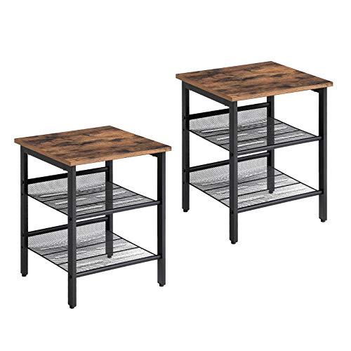 VASAGLE Nachttisch, Beistelltisch-Set im Industrie Design, 2er-Set Sofatische, kleiner Couchtisch mit verstellbaren Gitterablagen, Wohnzimmer, Schlafzimmer, Flur, Büro, stabil LET24X -