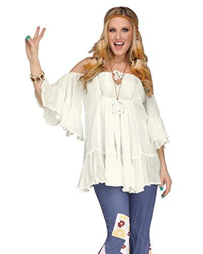 Naturweiße 60er Jahre Hippie Baumwoll Rüschen-Bluse für Karneval One (60er 70er Und Jahre Kostüme)