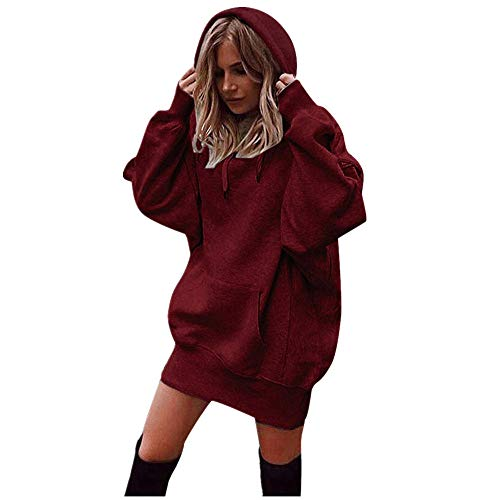 Oliviavan,Frauen Mode Patchwork Kleidung Hoodies Pullover Sweatshirt Damen Langarm Lose Bluse Hemd Shirt Oversize Blusen Tops Streetwear Strick Herbst Winter Kleid