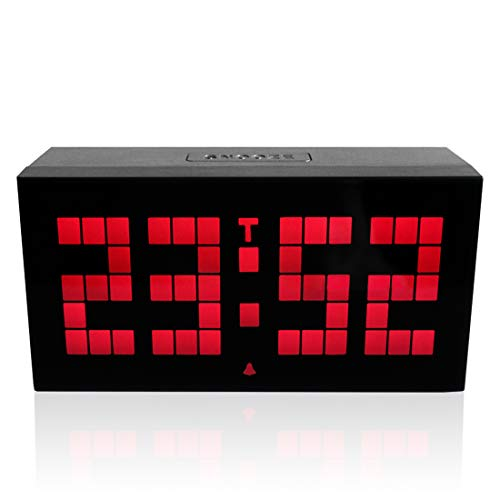 Große 4 Digit Jumbo LED Digitaler Alarmkalender Snooze Wall Desk Clock, Multi Functional Countdown Timer mit Temperatur, Mute Clock,Red
