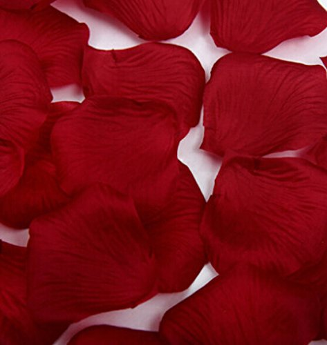 Liroyal 1000 Pcs Heart Shaped Red Rose Petals,Wine red