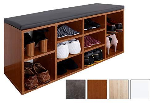 Ricoo scarpiera da ingresso wm033-er-a armadietto armadio con scaffale e scompartimenti panca sedile comodo scarpe ripiano cuscino cassapanca organizer portascarpe salvaspazio in legno rovere rustico