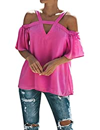 387a34e3b5c980 Blusen Damen Kolylong® Frauen Elegant Spitze Kurzarm Bluse Festlich Chiffon  Oberteile Sommer V-Ausschnitt Shirt…