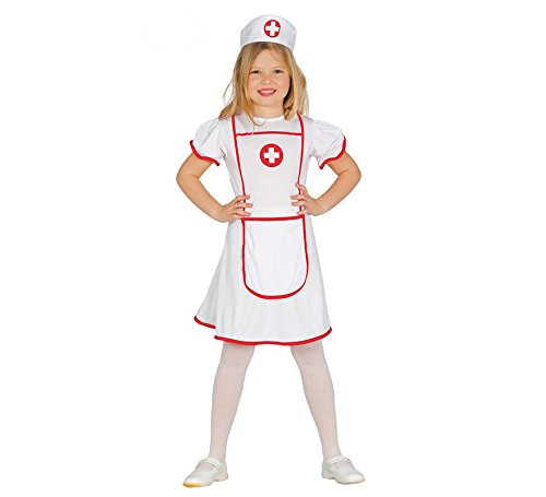 Guirca- costume da infermiera crocerossina per bambini, bianco/rosso, 7-9 anni, 85947