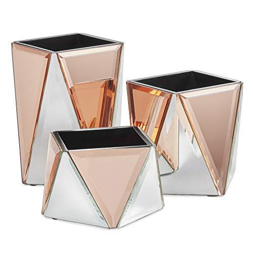 Beautify 3er Set Make-up Organizer - Set aus 3 verspiegelten Töpfen - Silber & Roségold - Geometrisches Design - Schminktisch Aufbewahrung/Aufgeräumter Tisch/Schminkbehälter
