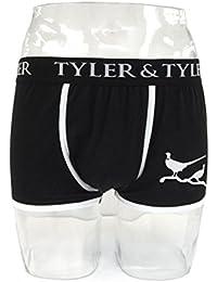 Tyler & Tyler - Boxer Homme Noir, Faisan Blanc