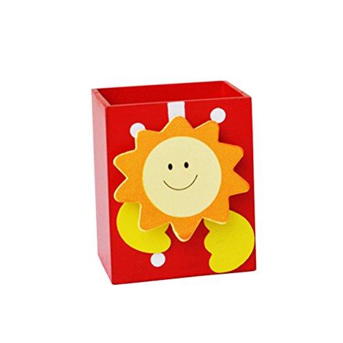 NUOLUX Portapenne Porta Matite in Legno Creativo Modello Cartone Animato Organizzatore di Cancelleria Ufficio (Sole rosso)