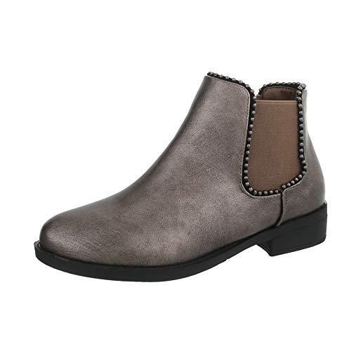 Ital-Design Damenschuhe Stiefeletten Chelsea Boots Synthetik Bronze Gr. 38 -