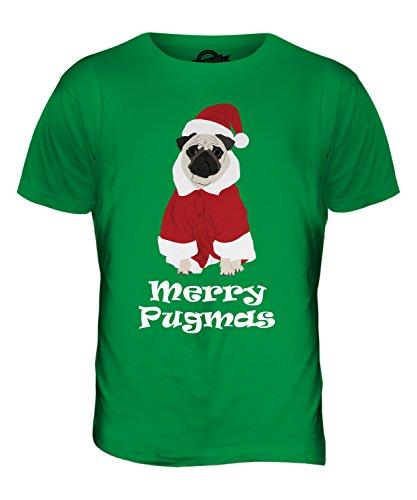 CandyMix Merry Pugmas Fröhliche Weihnachten Mops Herren T Shirt Grün