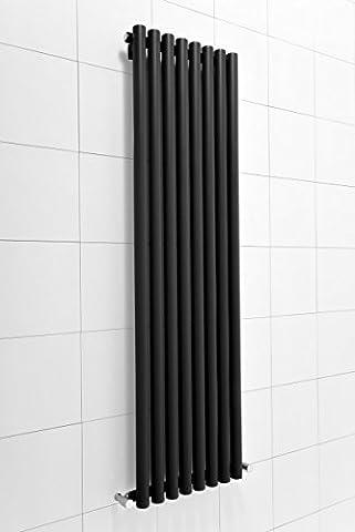 Radiateur eau chaude vertical design Harstad 985 W - 1600 x 465 – Noir - Chauffage central - Maison