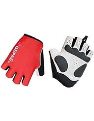 Lerway al aire libre y deportes reflectante cortos guantes del dedo para el ciclismo, bicicletas, Motocicleta (Rojo, L)