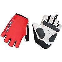 Lerway al aire libre y deportes reflectante cortos guantes del dedo para el ciclismo, bicicletas, Motocicleta (Rojo, XL)