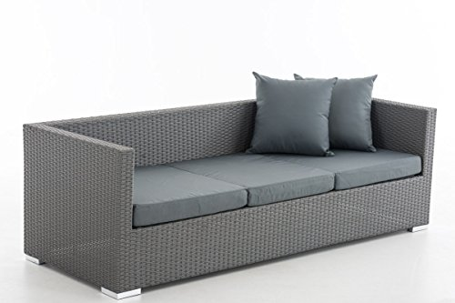 CLP flexibles Poly-Rattan 3er Lounge-Sofa SOLANO, ALU-Gestell, 4 Rattanfarben + 5 Kissenfarben, inkl. Auflagen Rattanfarbe: Grau, Kissenfarbe: Eisengrau - 2