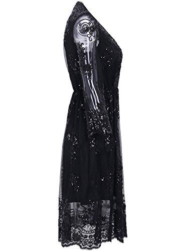 Missy Chilli Damen Knielangkleid Elegant Langarm V-Ausschnitt Pailletten Festlich Kleid Partykleid Abendkleid Schwarz - 2