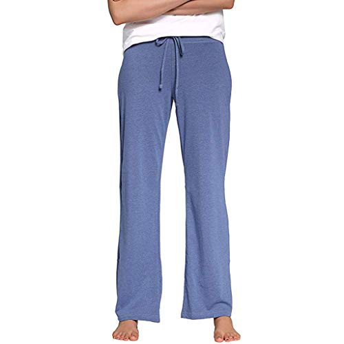 Hosen Herren Damen Sommer Stretch Cotton Pyjama Pants Einfache Sport Yoga Hose blau M - Stretch-damen-pyjama