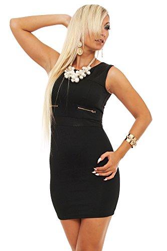 5597 Fashion4Young Damen ärmelloses Minikleid Stretch Kleid dress verfügbar in 3 Farben 2 Größen Schwarz