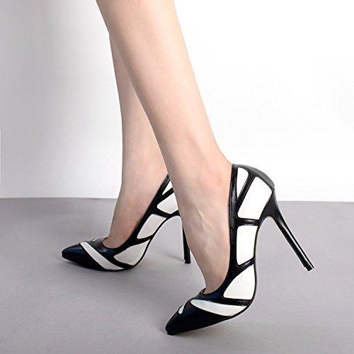 GS~LY Asakuchi di donne scarpe Joker in bianco e nero a colori corrispondenza tacchi alti Black