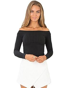 Tongshi Moda Mujeres sin mangas corta top ajustado suéter que hace punto sin tirantes de la camiseta ocasional