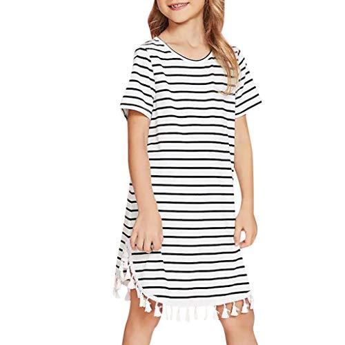syeytx Mädchen Kleiden Sommer Nette Weibliche Freizeitkleidung Mama & ich scherzt Mädchen-gestreifte Sommerkleid-Quasten-Kleid-Familien-zusammenpassende Kleidung