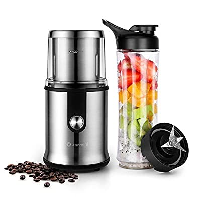Zanmini Electric Coffee Grinder with Mini Blender Grinder & Chopper Wet Dry Stainless Steel Cup and Blades Transparent Lid One One Touch Operation 300W