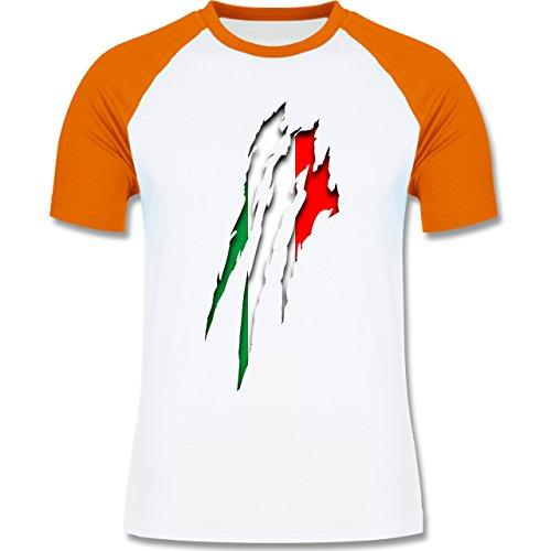 Länder - Italien Krallenspuren - zweifarbiges Baseballshirt für Männer Weiß/Orange