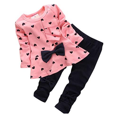 2 PCS Babykleidung FORH Kleinkind Säuglings Baby Kleidung Stellte Neue Baby Sets Herz Förmigen Drucken T-shirt Nette Bow Top Kinder Set Langarm Shirt + Hosen (Nette Herz Dame Kostüme)