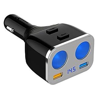 KFZ Ladegerät [QC 3.0], SONRU 12V Auto USB Adapter Power Verteiler für 12V/24V KFZ, 5.4A Zwei USB Anschluss, Zwei Zigarettenanzünder Splitter mit ON/Off Schalter für iPhone iPad GPS Dash Cam