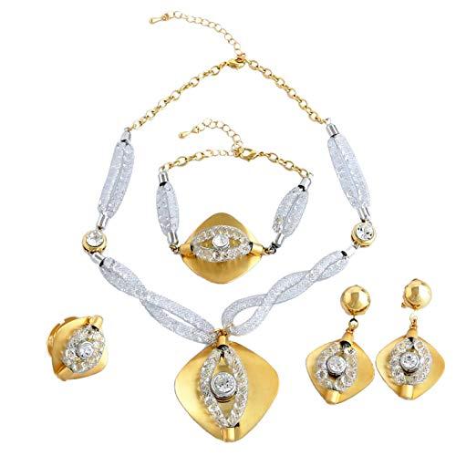 Yulaili Stein Schmuck für Frauen Fashion Sets African Kostüm Fashion Charms Armband 24K Dubai vergoldet ()