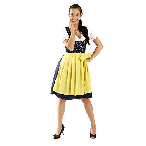 Almbock Mini Dirndl Fiona schwarz-gelb in Gr. 34 36 38 40 42 44 - 3-teiliges Dirndl-Set für Damen mit Dirndl-Bluse und (Kostüm Kleine Fiona)