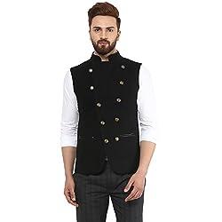 Black Tweed Nehru Jacket With Leather Detail