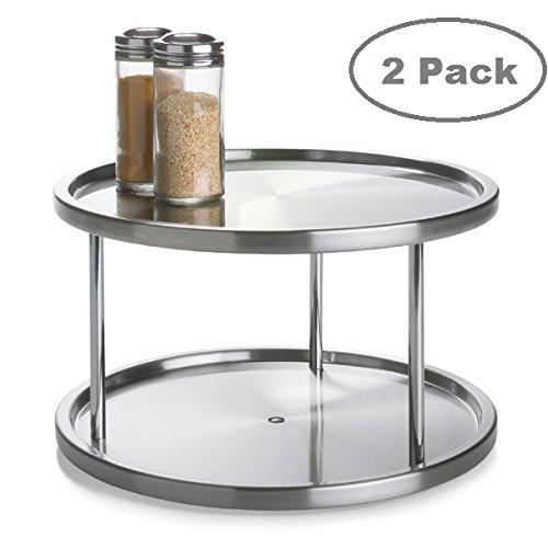 Lazy Susan Drehteller aus Edelstahl, um 360 Grad drehbar, 2 Ebenen, Tischständer für Ihren Esstisch, Küchentheken und Schränke, drehbarer Tisch, Gewürzregal, Organizer, Tablett 2 Tier - 2 Pack (Drehteller-lagerung)