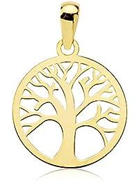 Colgante mujer niña árbol de la vida oro amarillo 18k calado 14 mm