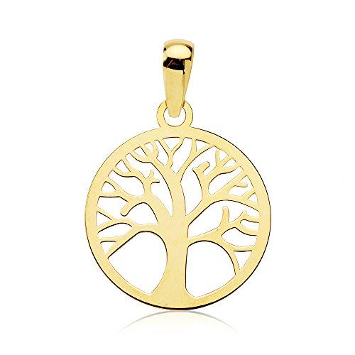Anhänger Damen Mädchen Durchbrochenes Baum des Lebens gold gelb 18K 14mm (Halskette Baum Kleine Mädchen)