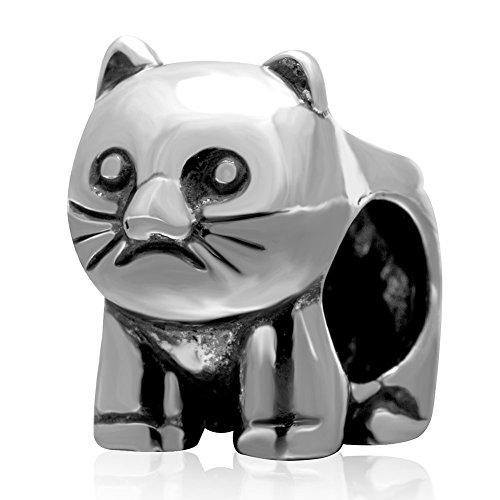 Sunstar 925sterling silver charm animal cat pandora-braccialetto con perline per gioielli fai da te