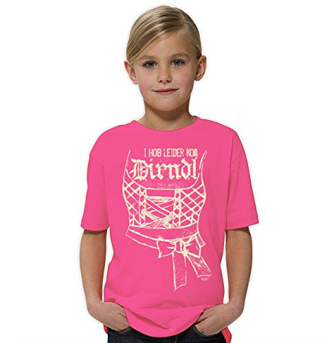 Kinder Mädchen Girlie kurzarm Trachten T-Shirt Outfit zum Volksfest Oktoberfest :-: Geburtstagsgeschenk Kids :-: I hob leider koa Dirndl :-: Geschenkidee Teenager :-: Farbe: rosa Gr: 146/152