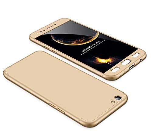 MEVIS Oppo F3 Plus Hülle,360 Grad hülle Fullbody case+(1*Hartglas Glasfilm Schutzfolie) 3 in 1 Ultra dünner pc Hardcase Scratch und Shockproof-Gold