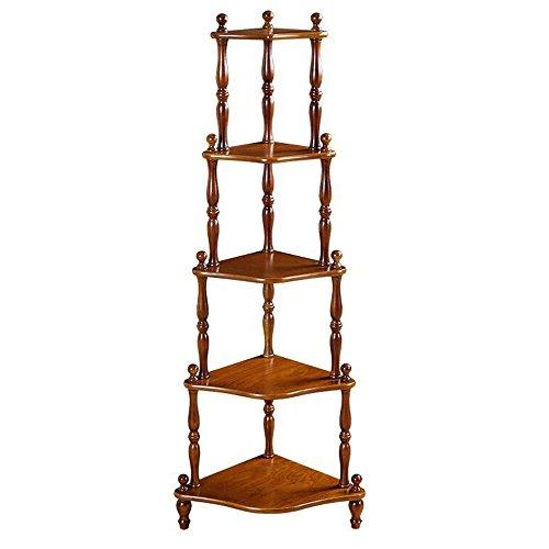 Corner Storage Unit (DUO Bücherregal 5 Tier Corner Shelf Bookcase Display C Storage Shelving Unit (408*408*1450mm) Hängeregal, (Farbe : Nussbaum))