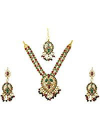 eb8f2e2d4d74 Bollywood conjunto joyas Sweet Heart rojo-verde dorado joyas indias perlas  piedras set sari joyería