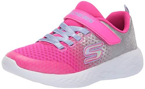 Skechers Kids Girls' GO Run 600-SPRINKLE Splash Sneaker Hot Pink/Silver 1 Medium US Little Kid