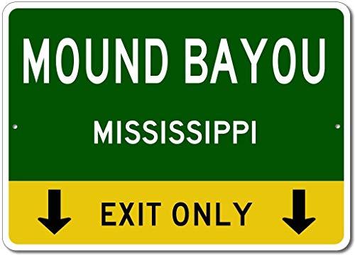 Mississippi Street Sign (Dekoschild Mound Bayou Mississippi US This Exit Only Custom City State Street Sign Grün Neuheit Metall Aluminium Weihnachten Blechschild Geschenk)