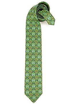 Trachten Krawatte - HIRSCHPAARE - grün, beige