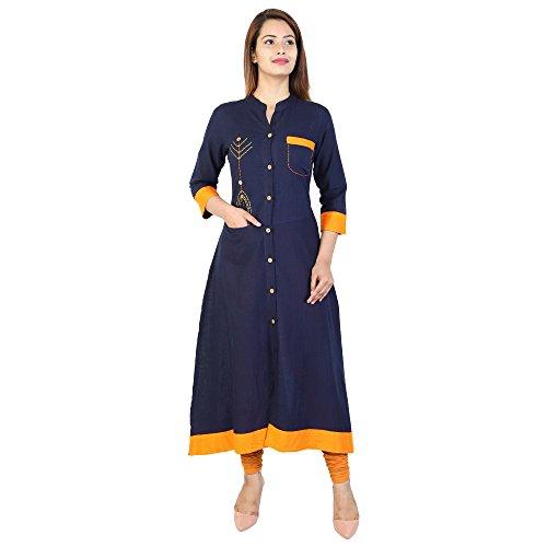 Raindrop Women'S Rayon Round Neck Blue Color Long Sleeve Button Closer Design...