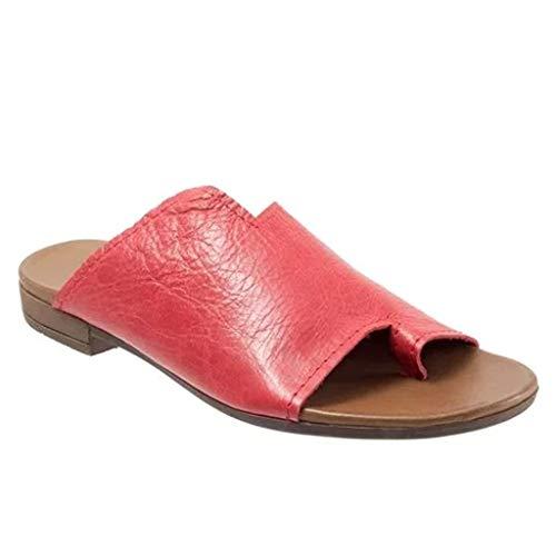 Ciabatte Donna Slippers Sandalo Estivi Donne Comfy Piattaforma Sandai Eleganti Estivi Sandals della Spiaggia di Estate Larga Pelle Punta Aperta in Pelle Infradito Scarpe WERSTAND