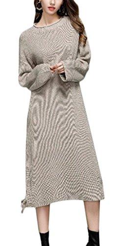 MILEEO Chemise à manches longues de tricot femmes lâche pulle robe longue pull-over à manche longue Beige